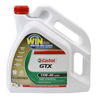 4L Car Engine Oil 4 Litres SAE 15W40 A3 B3 Part Semi Synthetic - Castrol GTX
