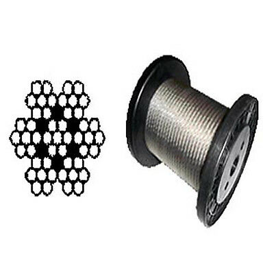 """T-304 Grade 7 x 7 Stainless Steel Cable Wire Rope 3/32""""- 1,000 ft"""