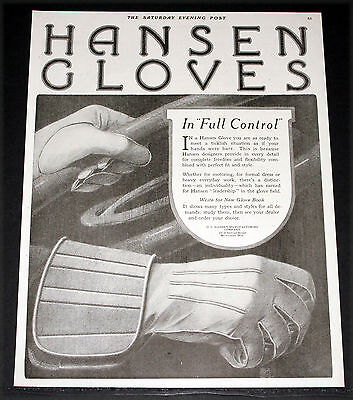 1919 Old Magazine Print Ad, Hansen Gloves, Combine Perfect Fit And Style, Art!