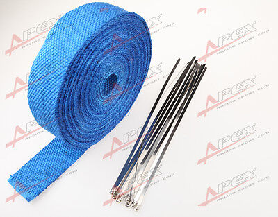 Fiberglass Exhaust Thermo Wrap Tape High Heat 50 Foot Cloth Roll Blue