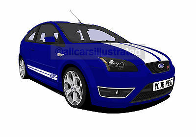 Ford Focus St Car Art Print (Size A3). Personalise It!