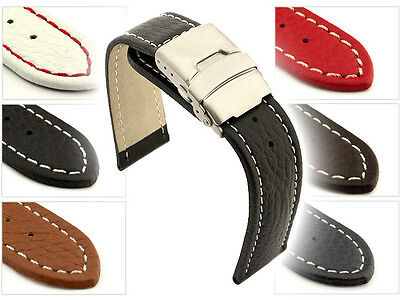 Mens Genuine Leather Watch Strap Band Freiburg Deployment Clasp Spring Bars