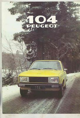1979 Peugeot 104 ZS ZL & ZA Brochure French mx5615-G3DCKD