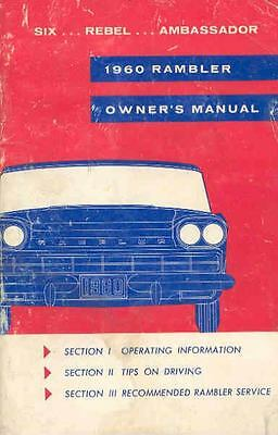 1960 AMC Rambler Six Rebel Ambassador Owner's Manual OH08-Q2RF2N