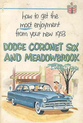 Dodge american automobiles advertising collectibles page 68 1953 dodge cornet six meadowbrook owners manual oh224 w3fskr publicscrutiny Choice Image
