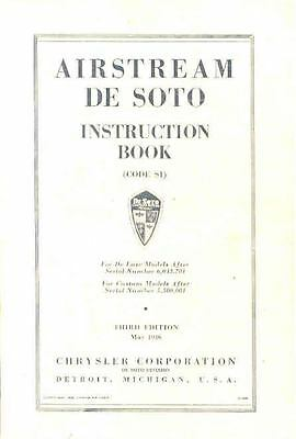May 1936 Desoto Airstream S1 Owners Manual 3rd Edition om1024-6XETP1