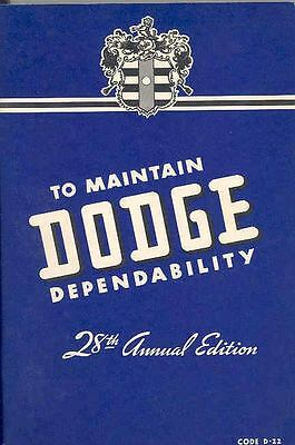 1942 Dodge D22 Owners Manual 2nd Edition om1064-EGYH72