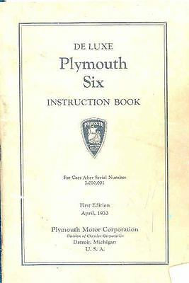 1933 Plymouth Six Deluxe Owners Manual 1st Edition om1262-87ON7H