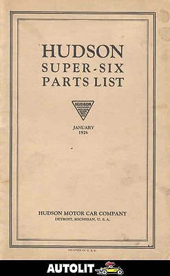 1926 Hudson Super Six Illustrated Parts Book om303-TXXDED