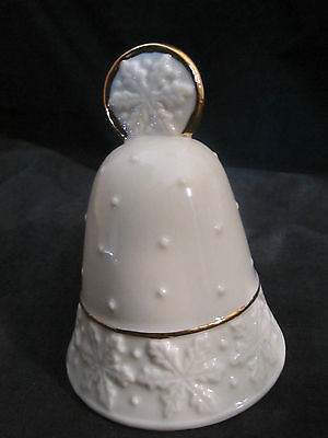 *LENOX CHINA DECORATIVE SNOWFLAKE PORCELAIN BELL WITH GOLD RIM, CHRISTMAS*