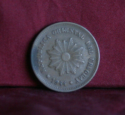 1944 So Uruguay 5 Centesimos Copper World Coin KM21a  South America Radiant Sun