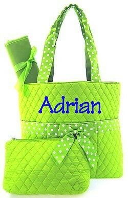 Monogrammed Quilted Diaper Bag Tote Bag Purse 3 Piece Green with White Accents