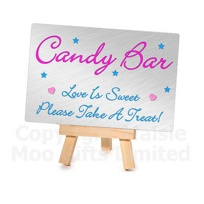 Metal Plaque Mini Wooden Easel Candy Bar Sweet Table Wedding Plaque Sign Buffet