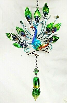 Peacock Metal Hanging Decor with Bell Teal,porch or patio ornament(L)