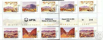 Stamps Australia Day 2002 Namatjiri gutter strip of 10 with APTA overprint