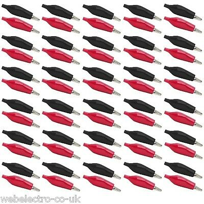 05185 Crocodile Alligator Black & Red for Test Leads Clips Insulated 28-35-42 mm