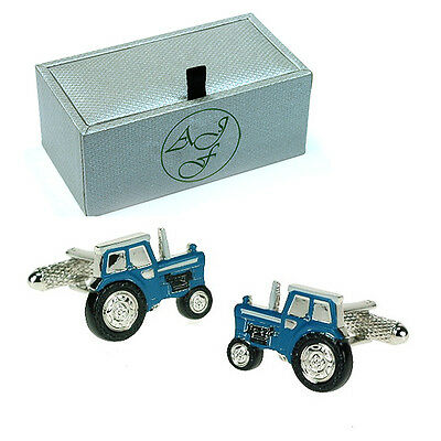 Novelty Blue TRACTOR Cufflinks Gift Boxed