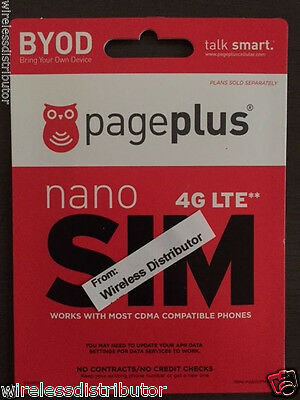 Page Plus 4G Lte Nano Sim Card Allows Unlimited Verizon Wireless Network +