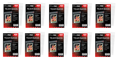 (1000 / 10 Packs) Ultra Pro Resealable Team Set Bags Trading Card Storage