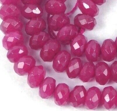 """6x4mm Plum Jade Faceted Rondelle Beads 16"""""""