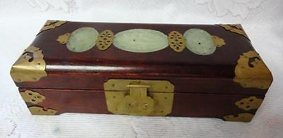 Old Antique Chinese King Grade A Ice Jade Ornate Brass Wood Jewelry Box Cabinet