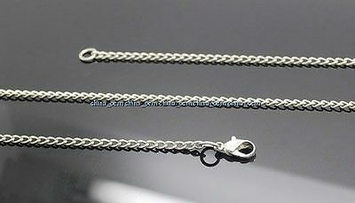 "31"" 10PCS WHOLESALE ANTIQUE STAINLESS STEEL SILVER NECKLACE CHAIN DIY JEWELRY"