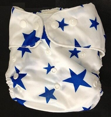 Baby Toddler Infant Reusable Blue Stars Cloth Diaper nappy insert re-usable DP35