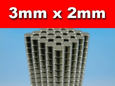 150 Pieces Rare Earth Neodymium Magnets N50 3mm Diameter x 2mm Thickness