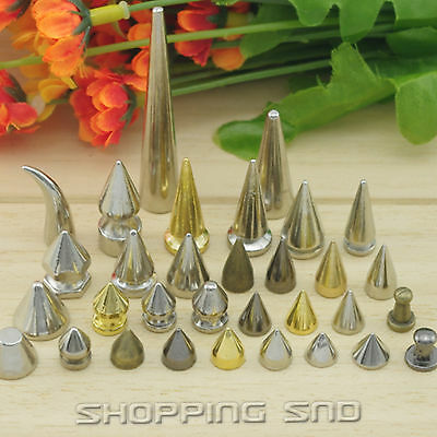 Gold Black Claw Tree Spikes Cone Bullet Metal Studs Rivets Screwback Leather