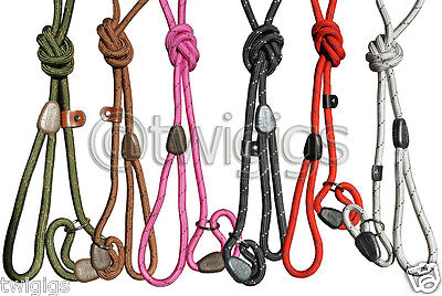 Dog Slip Lead Hi-Craft 10mm Nylon Rope Pink Green Brown Red Black Training