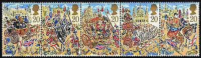 GB Sc# 1293A = 1989 Lord Mayor's Show Se-Tenant Strip of 5 = MINT VF NH