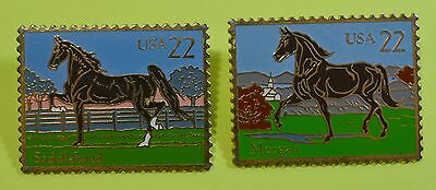 1985 The March Co 22 Cent Stamp Pins Set of 2 Saddlebred & Morgan Horse Brooches
