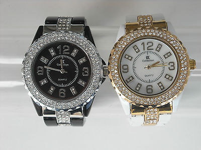 MONTRE FEMME NOIRE/BLANCHE STRASS DESIGN Collection 2013