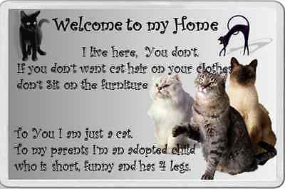 Large fridge magnet CAT WELCOME TO MY HOUSE HOME pet animal lover feline fun