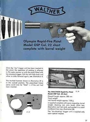 Walther Olympia Model OSP Pistol Manual
