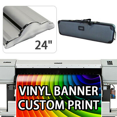 """Retractable Roll Up Banner Stand Height Adjustable Display HD 24"""" With Print"""