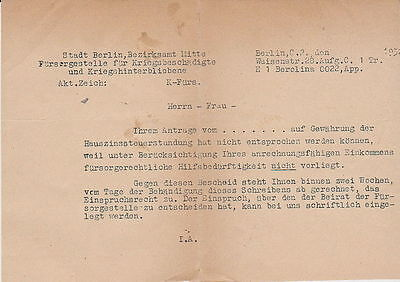 WWI GERMANY BERLIN CARE CENTRE FOR WAR-DISABLED PERSON  REFUSING FORM 1930s