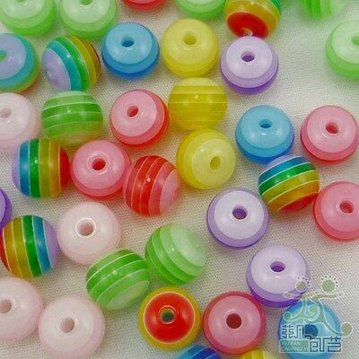 100 pcs mixed colors resin round strips beads 8mm craft/kids sewing emblishment