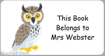 24 x Personalised Cute Owl Stickers This Book Belongs To ..  Labels