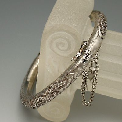 Vintage Bracelet Hollow Silver Chased Serpent Small Wrist Hinged Bangle 6 3/8""
