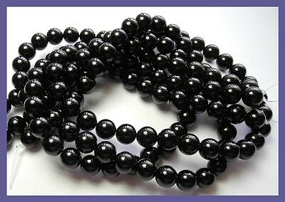 """aaa 8.00Mm  (Dyed) Black Onyx Smooth Round Beads-Great Lustre!!"""