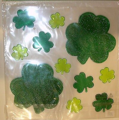 Glitter Gel Window Cling St Patrick's Day Shamrock Clover Decor Pk of 10 Cts
