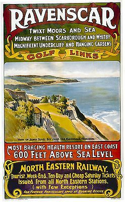 Vintage Rail travel railway poster  A4 RE PRINT Ravenscar