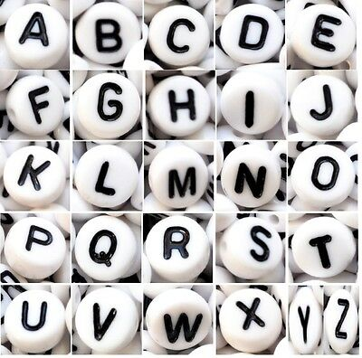 100 pcs alphabet acrylic beads, 7 mm, white, flat round, single letter A - Z & m