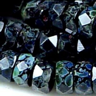 50 Firepolish Czech Faceted Rondelle Jet - Picasso 6x3