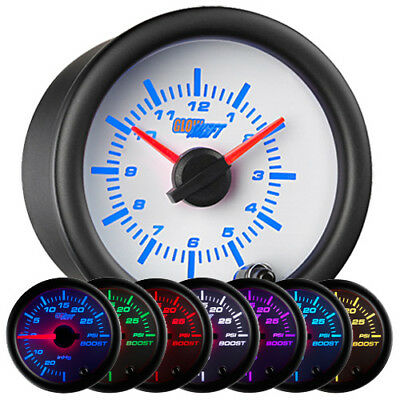 GlowShift White 7 Color Analog Clock Gauge 52mm - GS-W718