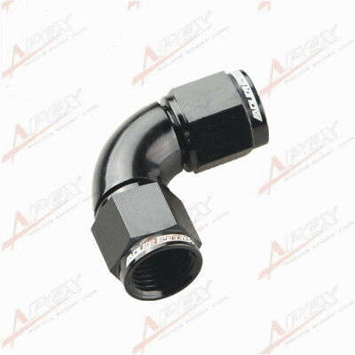 AN-6 6AN To AN6 -6AN 90 Degree Female To Female Full Flow Adapter Black