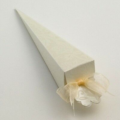 IVORY CONFETTI CONES WEDDING FAVOUR BOXES (Choose Your Quantity Required)