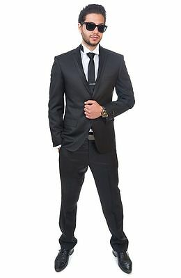Slim Fit Suit Black Tuxedo 2 Button Trim Collar Fitted Flat Front Pants By AZAR