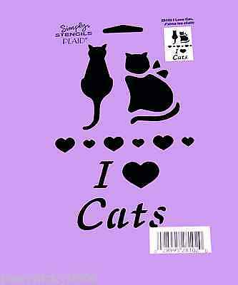 "Cat Stencil Hearts ""i Love Cats"" Heart Craft Stencils Template Paint 8"" X 5"" New"
